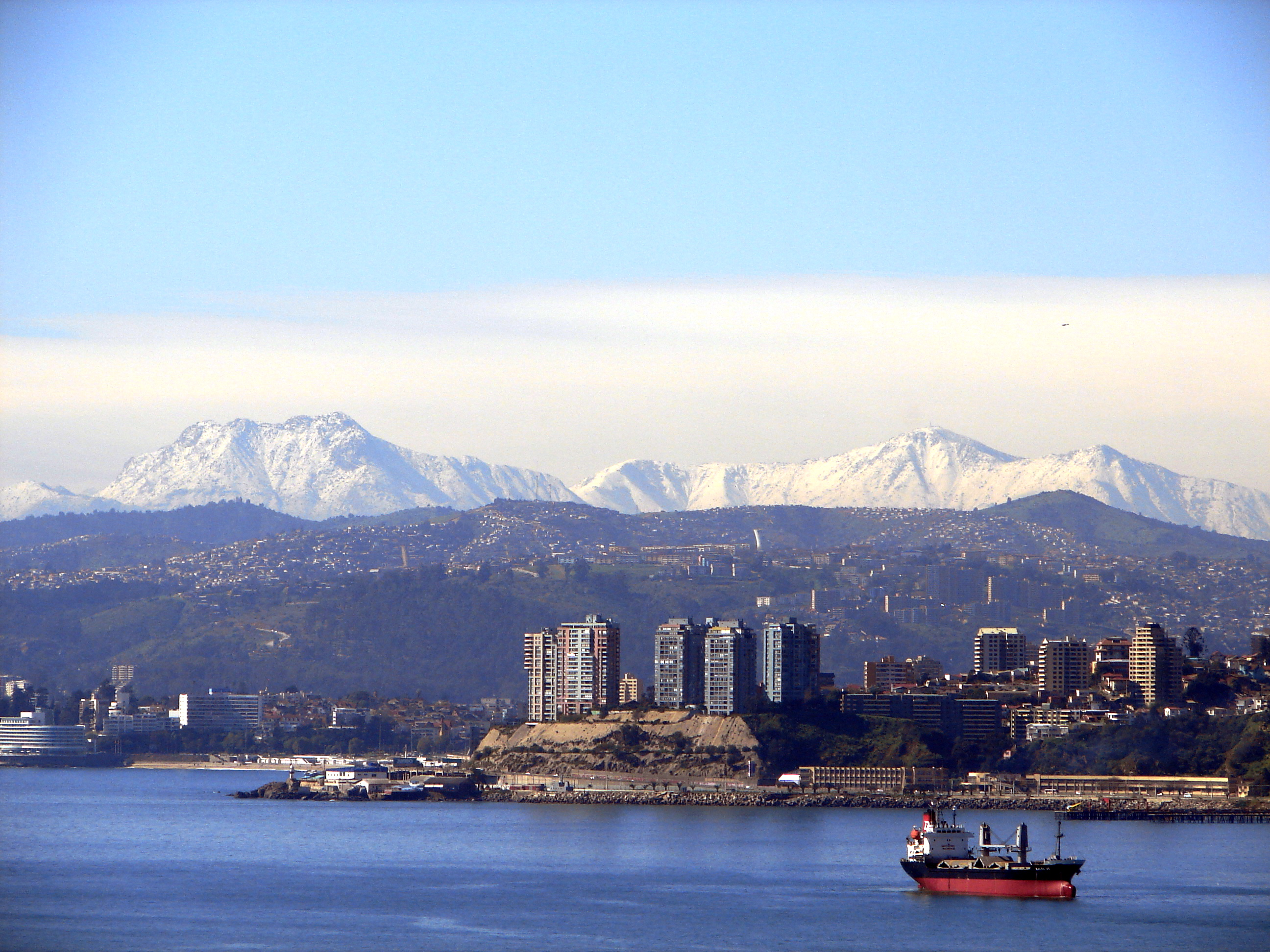 View Of Valpara  So And Vi  A Del Mar With The Andes In The