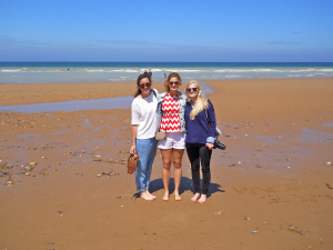 Laura Bassel and margaret Hill and Me on Normand/Omaha beach