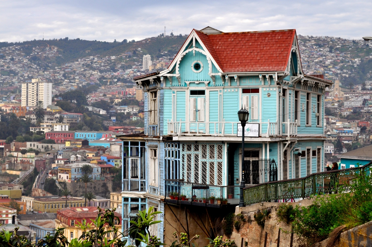 One of the many houses of character that sits in the hills of Valparaíso, Chile! Seen while at the Port Lookout on an ISA excursion in Valpo.