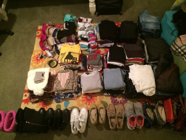 Here is a glimpse of what I am bringing with me. It may seem like a lot, but all of it fit into my 2 suitcases!