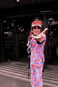 London has some crazy packed streets with people from all around the world. There are many tourist shops like this Cool Britannia, which this gentleman is advertising for along the street of Piccadilly.