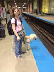 Ash and pup on the subway
