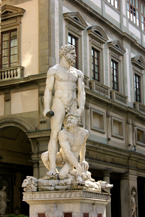 "This statue ""Hercules and Caco"" is also in Piazza Signoria and is done by Bandinelli. It's right next to the copy of Michaelangelo's David."
