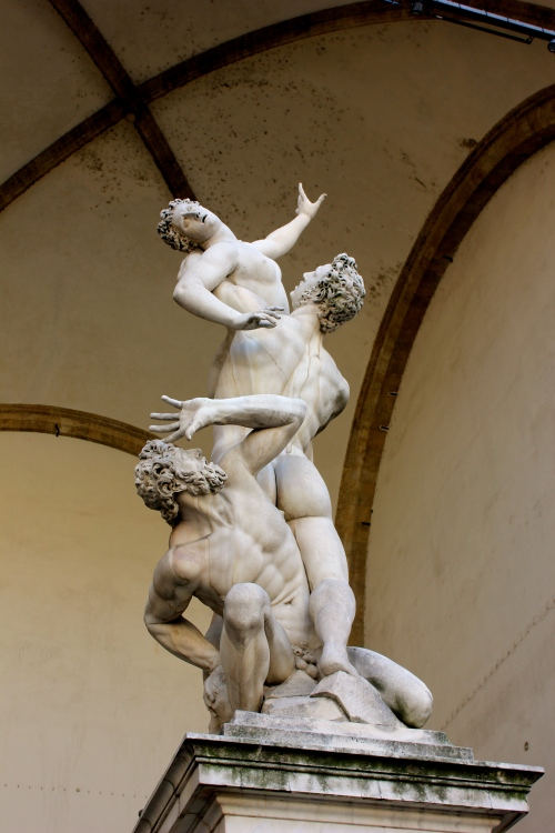 This statue in Piazza Signoria is done by Giambologna and is called the Rape of the Sabine. In this case, the word rape means abduction rather than what we associate it with.