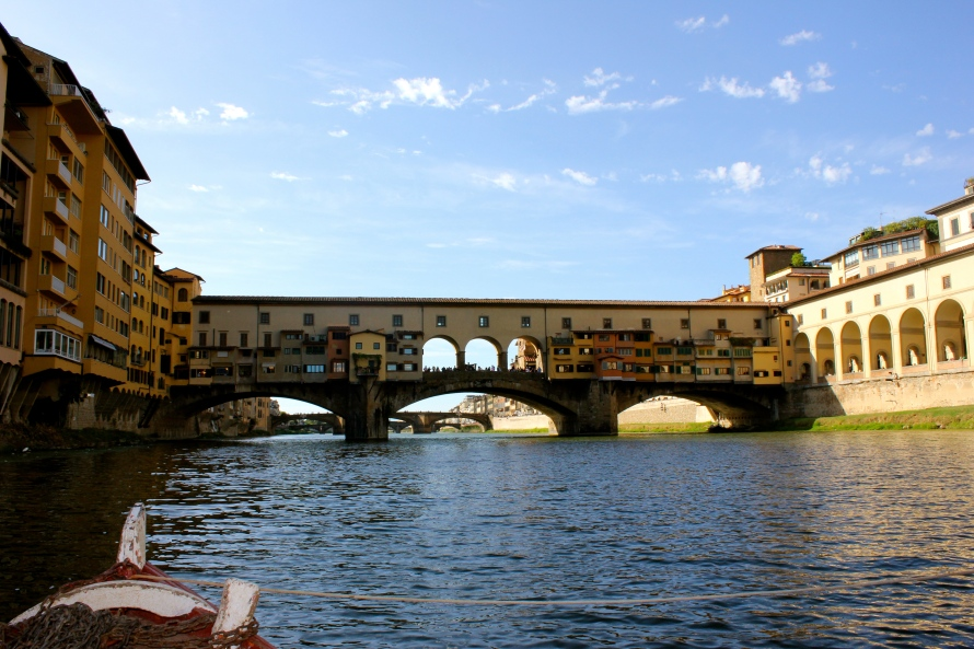 This is one of the views of the Ponte Vecchio we had on our boat tour offered through ISA. The actual shops are a little pricey, but you definitely have to stop in a few.