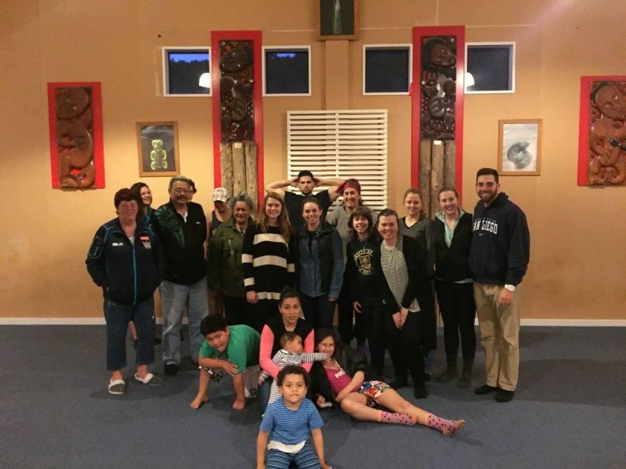 Dunedin ISA group with the whānau at the Araiteuru Marae for our overnight marae excursion