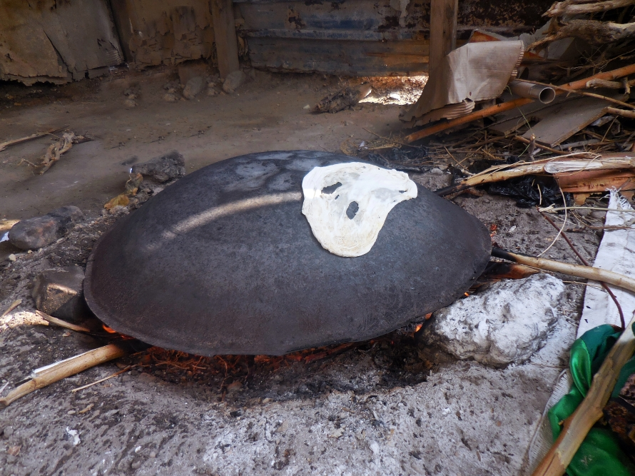 The heated dome used to make flatbread.