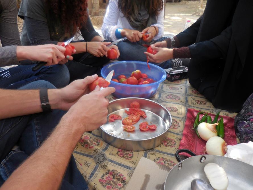 Peeling some tomatoes!
