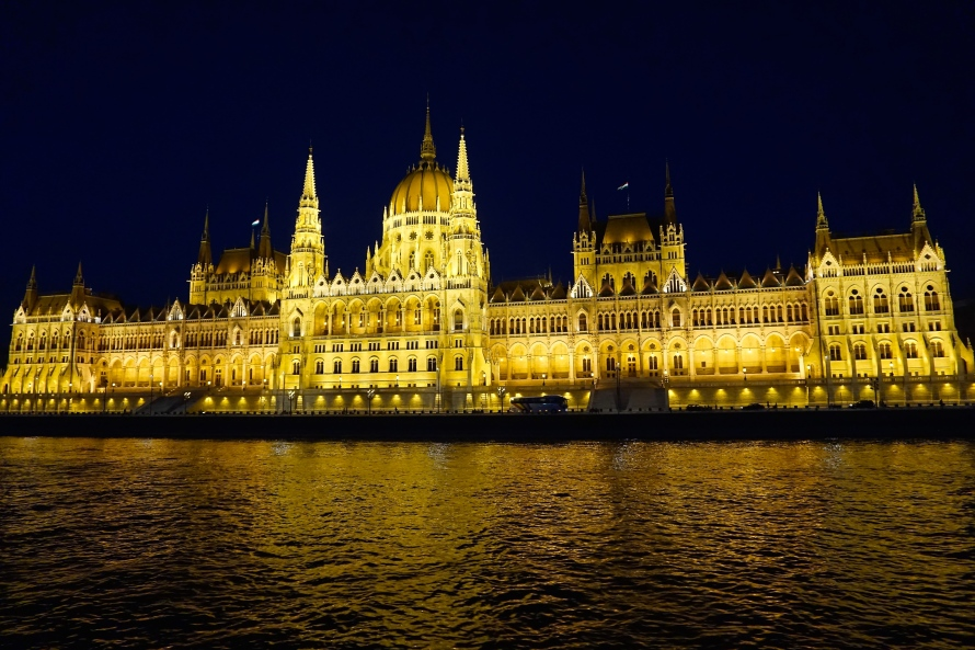 View of the Hungarian Parliament Building from the Danube.