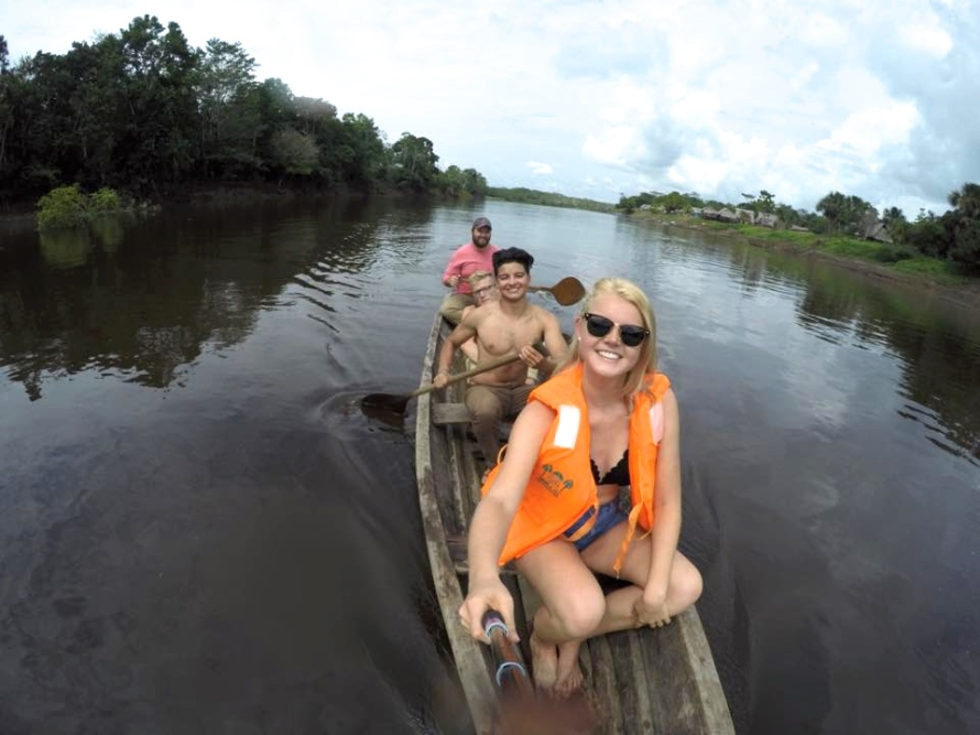 canoeing near pink dolphins | ISA Student Blog