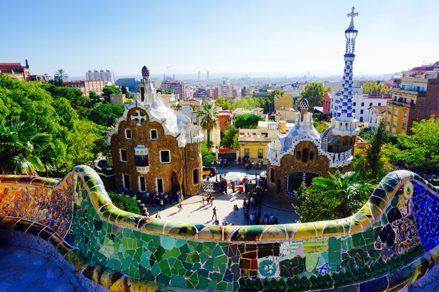 A fantastic panoramic view of Barcelona can be seen from the benches of Gaudí's Park Güell.