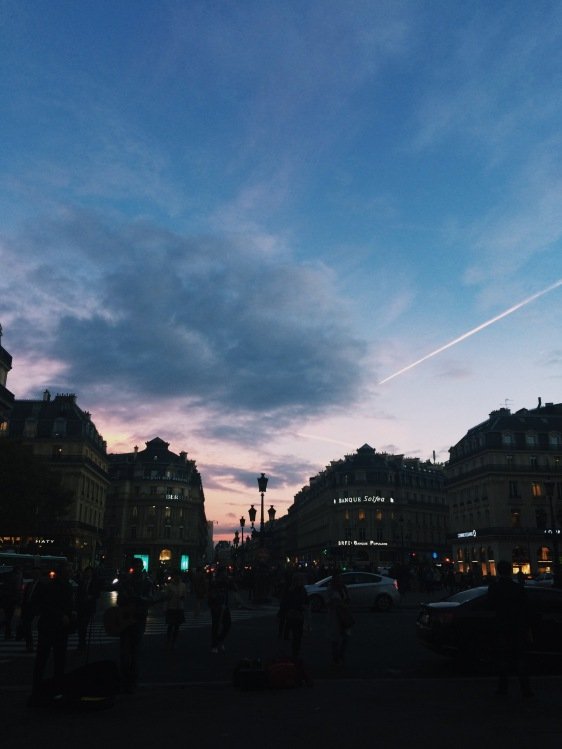 Sun set from the Opera steps in Paris