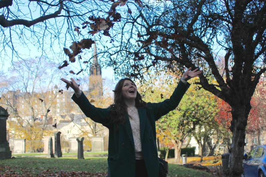 Throwing leaves, Edinburgh, Scotland, UK, Conwell-Photo 4
