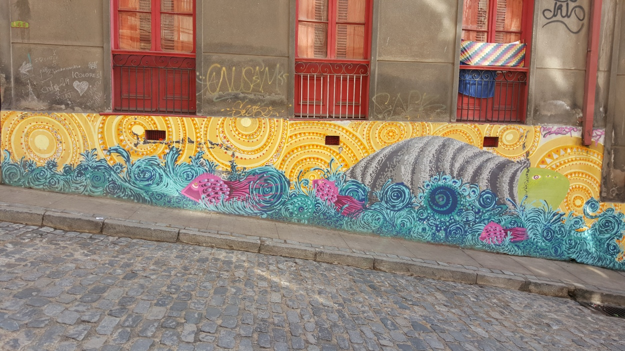 This is just one of many examples of street art in the hills of Valparaíso, Chile.