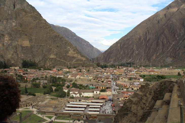 View from Ollantaytambo, a storehouse can be seen on the left mountain