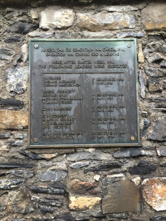 Plaque at Kilmainham