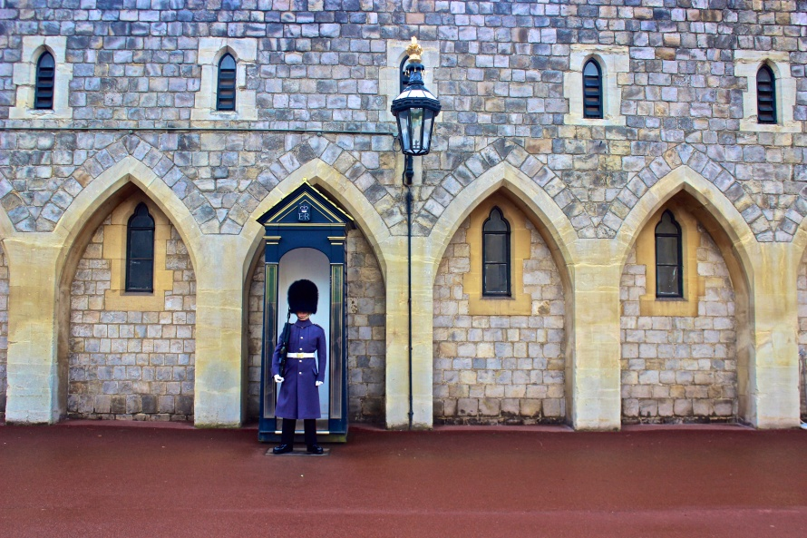 One of many Royal Guards who stand guard over Windsor Castle.