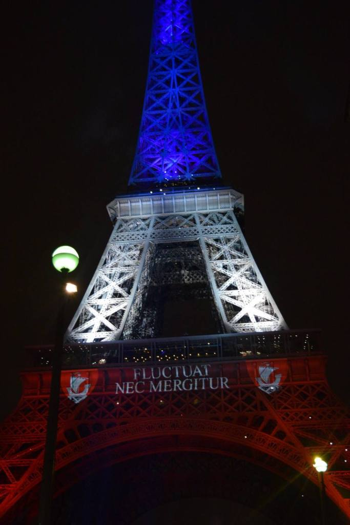 "The motto of the city, ""Fluctuat Nec Mergitur"" was projected onto the statues among the colored lights. It means ""She is tossed by the waves but does not sink."""