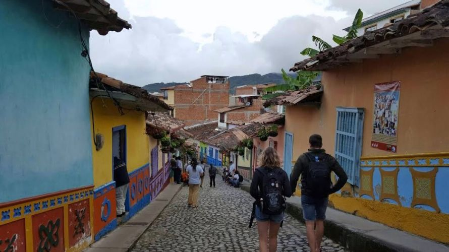 A typical, colorful and hilly street in the Village of Guatape.