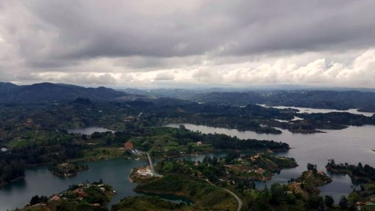 A breathtaking view of Guatape's Lake and islands from the top of El Peñol.