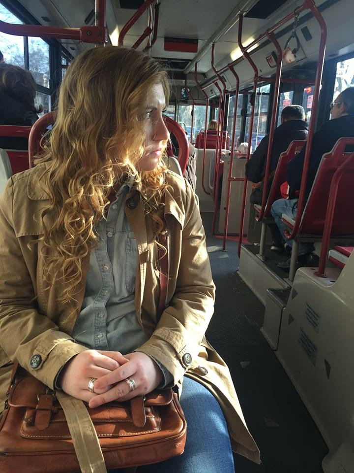 My roommate, Anna, on our way home from a trip to the Ara Pacis.
