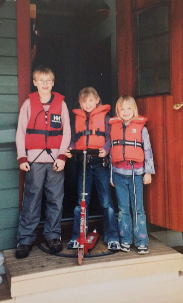 A photo from our first visit to Norway, life jackets and all.