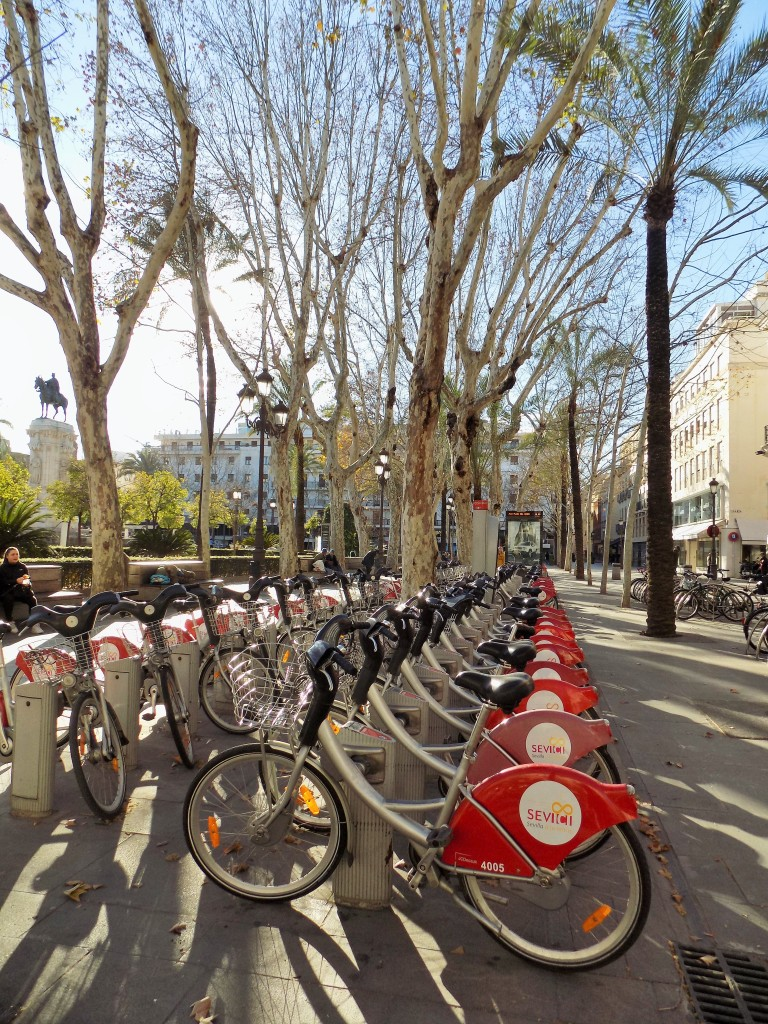 Here's the Sevici bike station in Plaza Nueva.