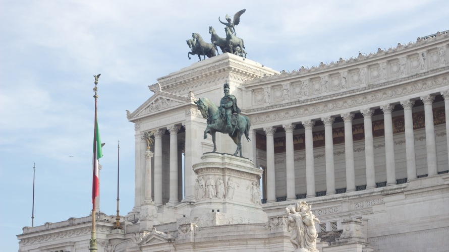 "This building, otherwise known to some of the students as ""the white cake"" for its many layers, is located in Piazza Venezia which is the heart of the whole city"