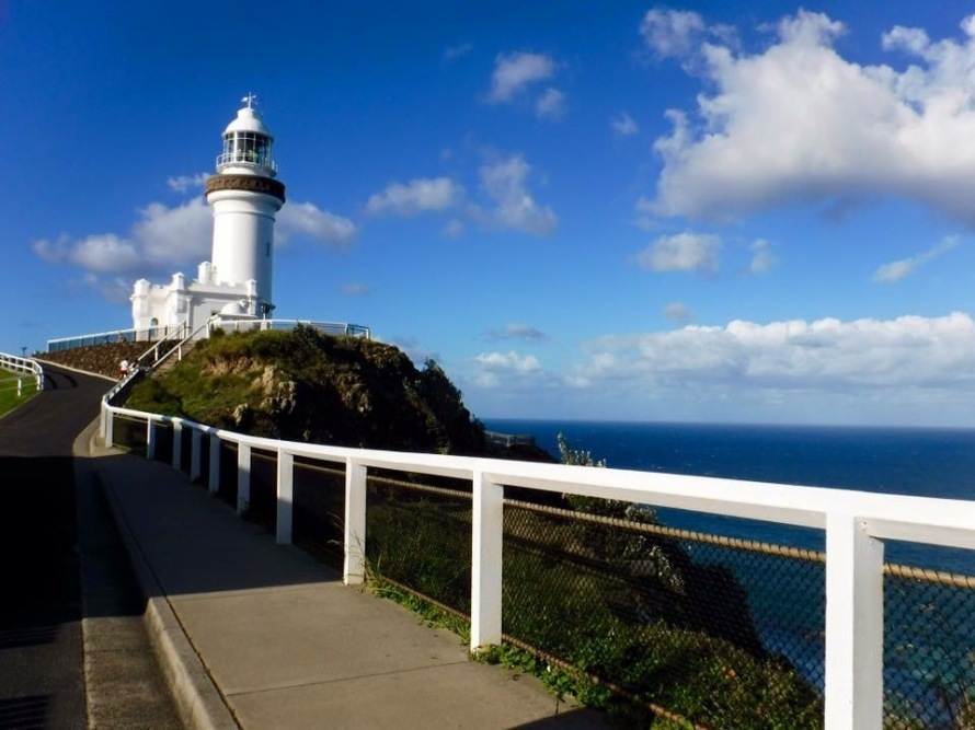A view of the trek up to the lighthouse. Just over the hill is the most eastern point of Australia!