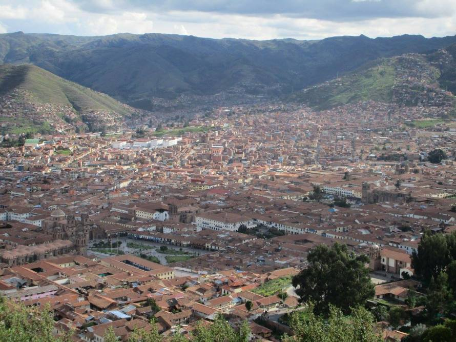 The view from under the statute of the city of Cusco