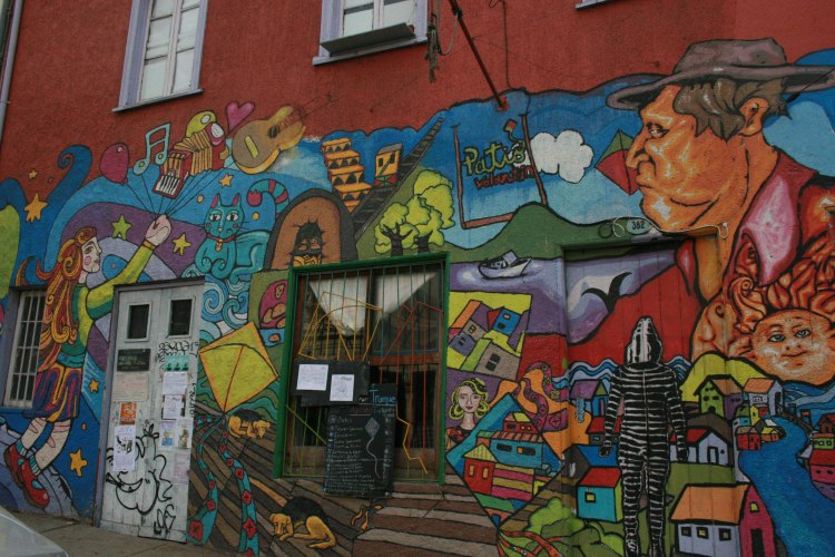 Community members came together to create the artwork that decorates Patio Volantín. Photo by Lisa Delao