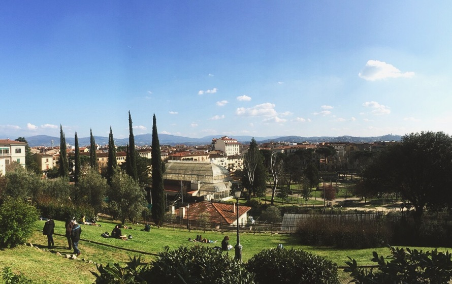 Beautiful views of the garden and city from the top of Giardino Dell'Orticultura