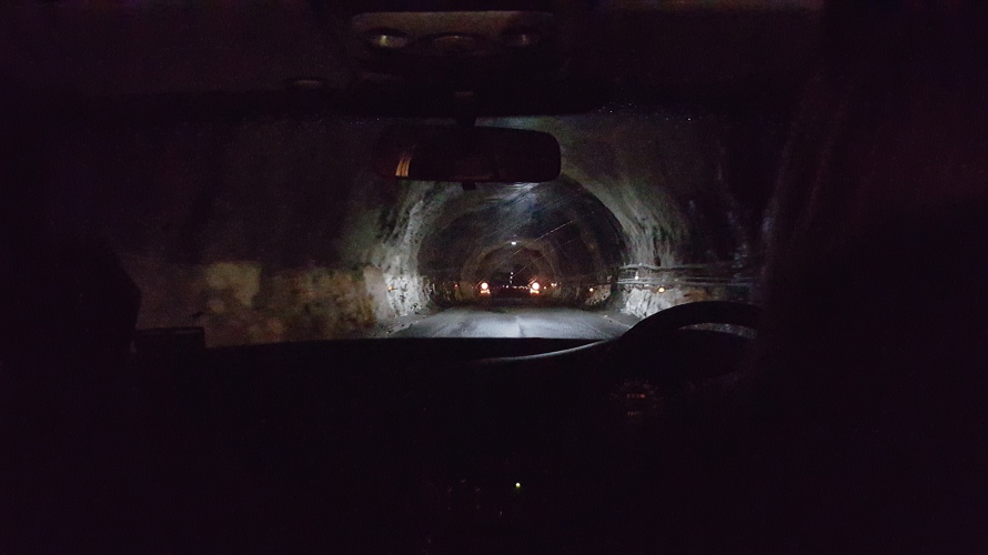 1.2 kilometer road tunnel which is the gateway to The Chasm and Milford Sound