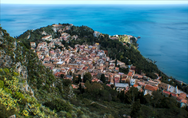 View of the town from the top of the hill in Taormina.