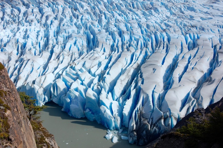 Close up of the blue ice of glacier Grey