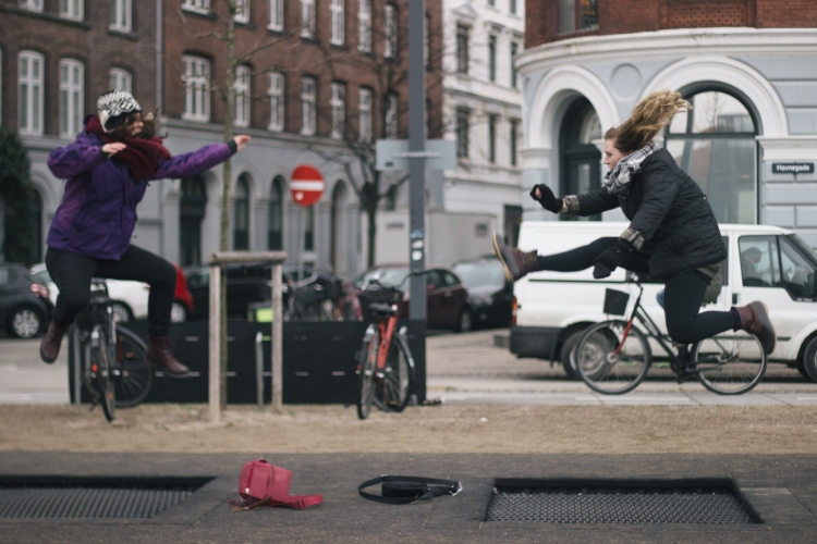 Exercising is a great way to get some things off your mind and unwind, like we did when we found trampolines on the streets of Copenhagen.