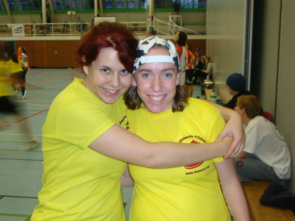 Teammate and I (right) at Women's Indoor Nationals Qualifying Tournament. Osnabrück, Germany, 2012.