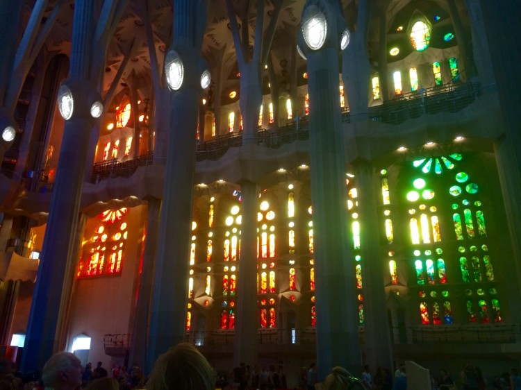 Interior of the Sagrada Familia. Columns with branched pillars give the illusion of being in a forest.