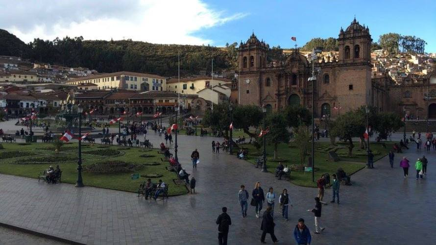A view of the Plaza de Armas, the downtown area of Cusco