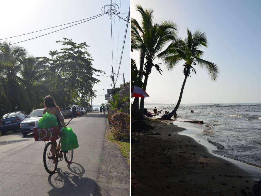 Everyone rents bikes to ride to and from the beaches and hostels in Puerto Viejo. Palm trees on the beach make for perfect hammock spots.