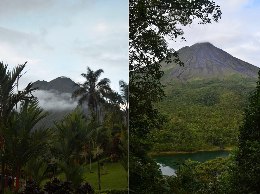 The photo on the left is the view of the Arenal Volcano from our hotel balcony, shortly before 6am. The second is from the highest observation point after a 45 minute hike.