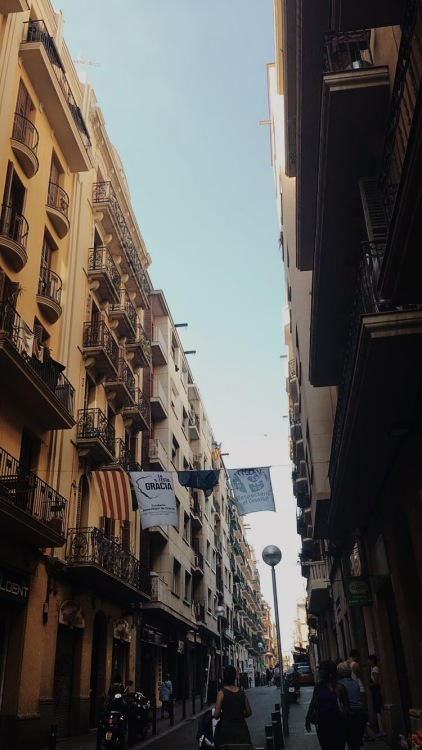 Here is a street in Gràcia that still has the banners from Festa Major de Gràcia.