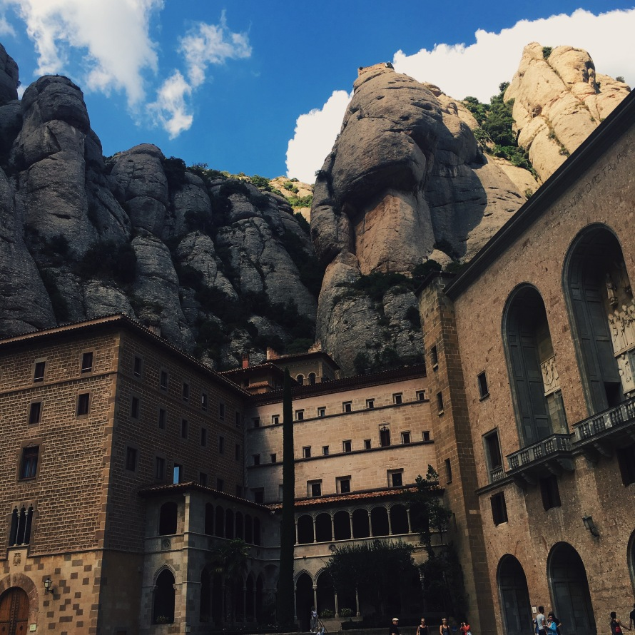 This is the view from the little plaza toward the large boulders in Montserrat.