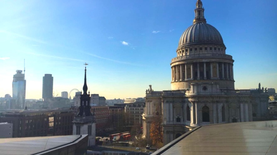 A view of St. Paul's Cathedral from atop a London shopping center