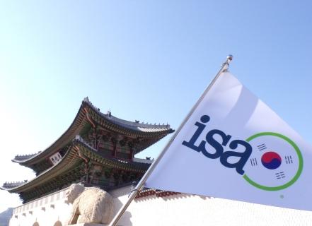 ISA Flag at Gyeongbuk Palace in Seoul.