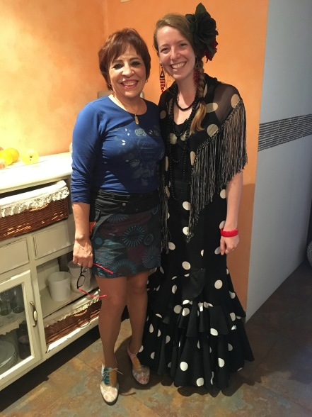 My host mother and me in her Feria skirt and accessories.